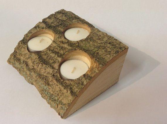 Natural Log Tea Light Holder Trio Sustainable by BarkWoodDesigns