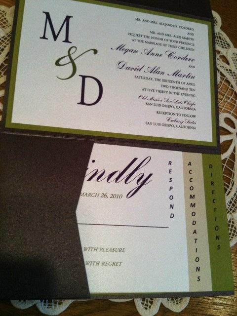 Wedding Invitation 2 Layer Pocket Fold Eggplant Purple And Olive Green 810 Via Etsy