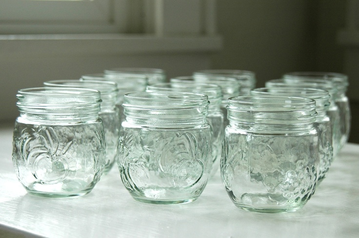 12 small glass jelly jars for canning or country. Black Bedroom Furniture Sets. Home Design Ideas