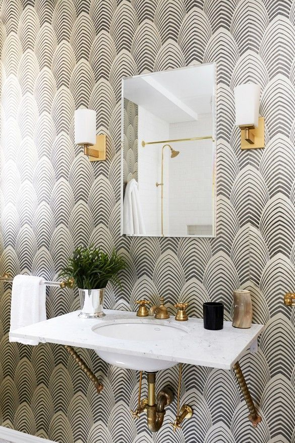 Powder room with black and white Art Deco wallpaper in 2019 ... on zen bathroom design, medieval bathroom design, vintage inspired bathroom design, geometric bathroom design, transitional bathroom design, floral bathroom design, tuscan bathroom design, art nouveau bathroom design, reclaimed wood bathroom design, simple bathtub design, classical bathroom design, nature bathroom design, bathroom floor design, star wars bathroom design, shaker style bathroom design, country bathroom design, international bathroom design, gold bathroom design, celtic bathroom design, pop art bathroom design,