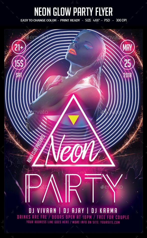 neon glow party flyer template psd easy editable text cmyk 300