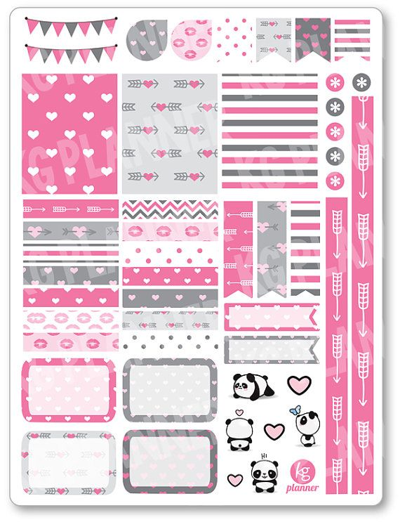 Panda Love Decorating Kit / Weekly Spread Planner Stickers for Erin Condren Planner, Filofax, Plum Paper