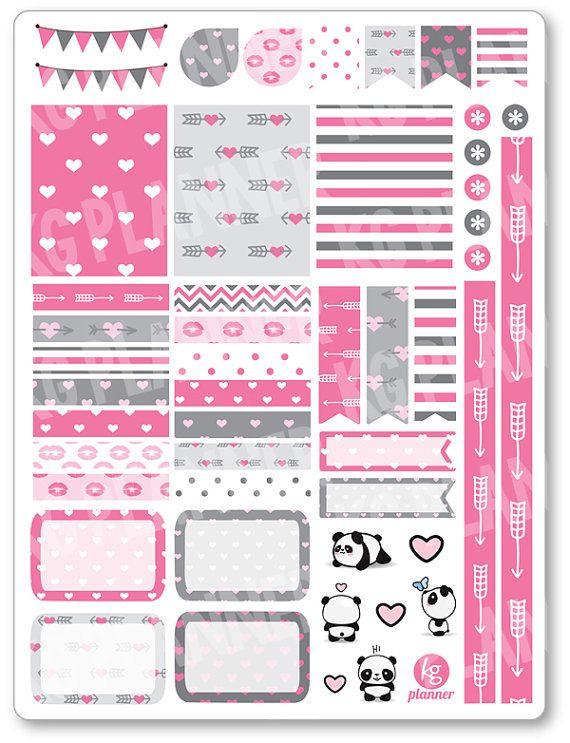Panda amor decoración Kit / extensión semanal por PlannerPenny