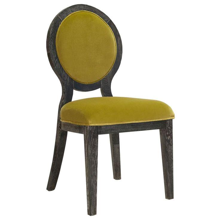 Black cerused oak oval back chair in lime green velvet ...