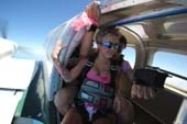 Lucie, pretty in pink before her Pinktober tandem skydive with Sunshine Coast Skydivers, Caloundra