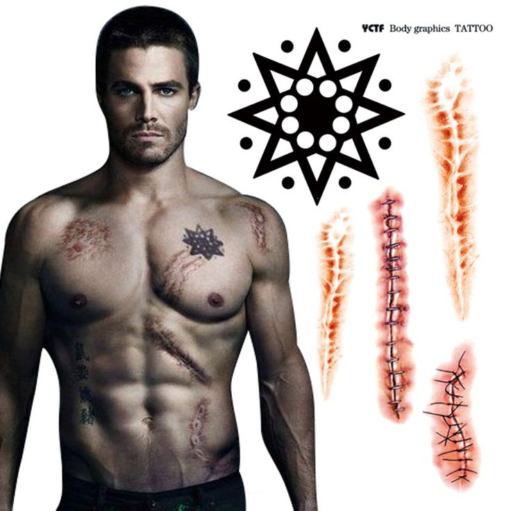 Temporary tattoo green arrow man tattoo stickers sexy waterproof fake tatoo scar designs back body art arm tatto free shipping