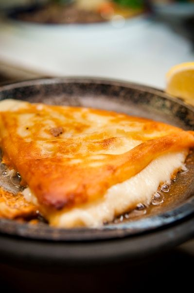 Saganaki (flaming cheese - Greek)
