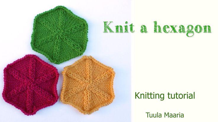 Knitting tutorial - hexagon. Great for baby blanket.