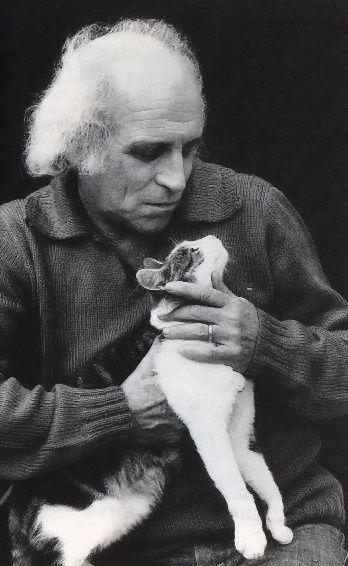 Léo Ferré et son chat.