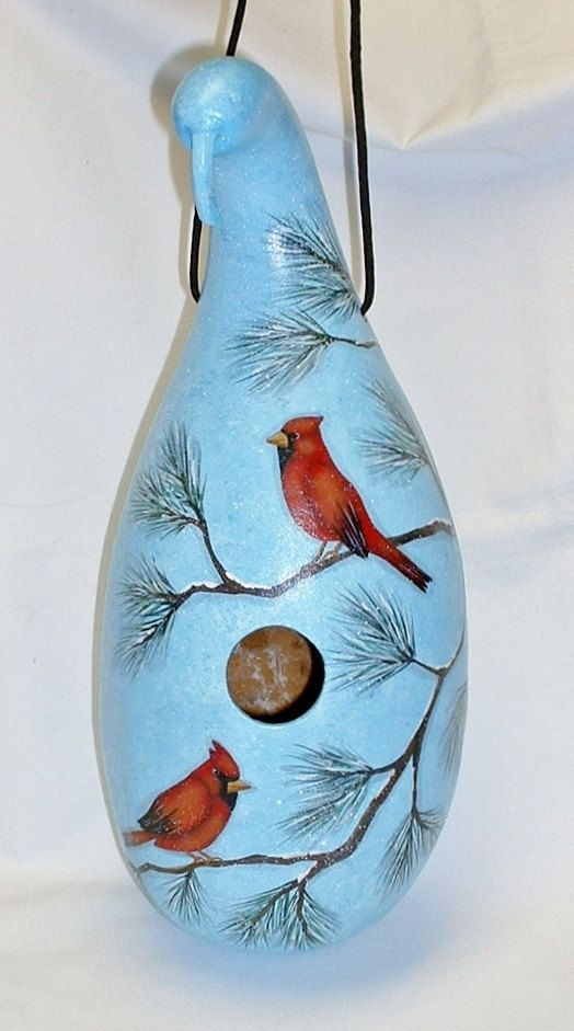 Cardinal Gourd Birdhouse Hand Painted Gourd by FromGramsHouse, $40.00