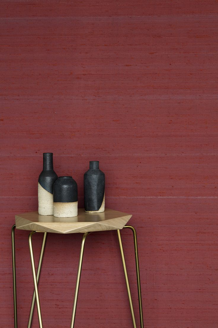 Our vibrant silk wallcovering, Penang Chilli, features with Tuckbox stool and Penelope Duke ceramics.