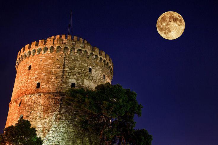 August Full Moon White Tower Thessaloniki Greece