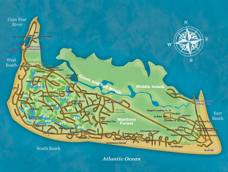 Bald Head Island Map – Tiffany's Beach House Rentals
