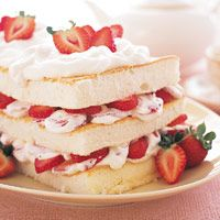 Strawberry Angel Food Layer Cake - can make the angel food cake