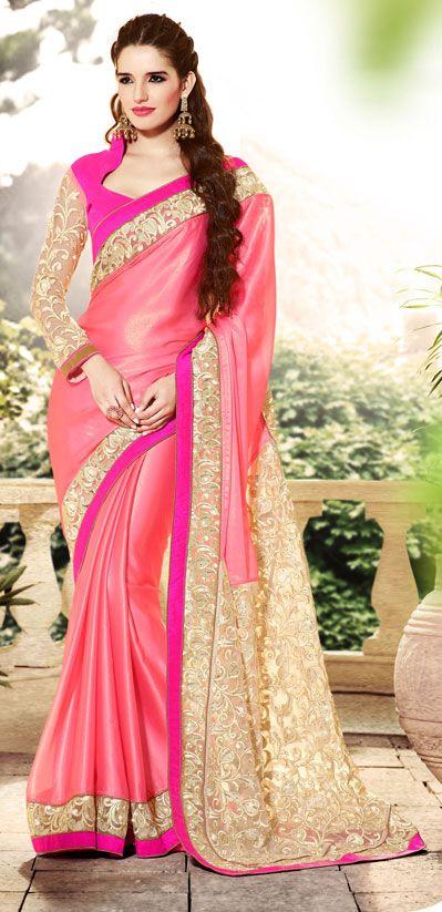 USD 100.98 Pink Satin Embroidered Wedding Saree 40358