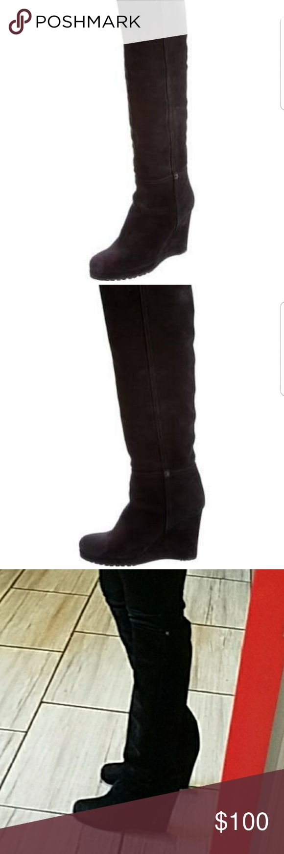 Authentic Prada suede boots  38 $$$firm $$ Black suede wedge boots Prada Shoes