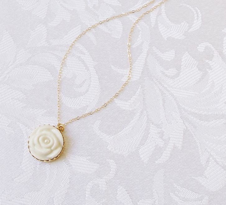 Contemporary Porcelain Rose Pearl Necklace