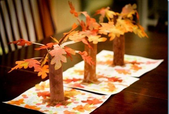 Bäume aus Papier mit Blätter Herbst basteln