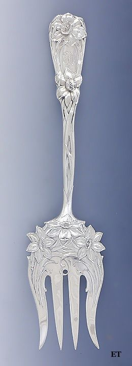 Fine Durgin Sterling Silver Chipped Beef Serving Fork New Art Pat Narcissus | eBay