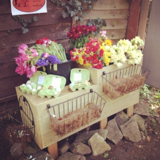 Eggs and flowers for sale