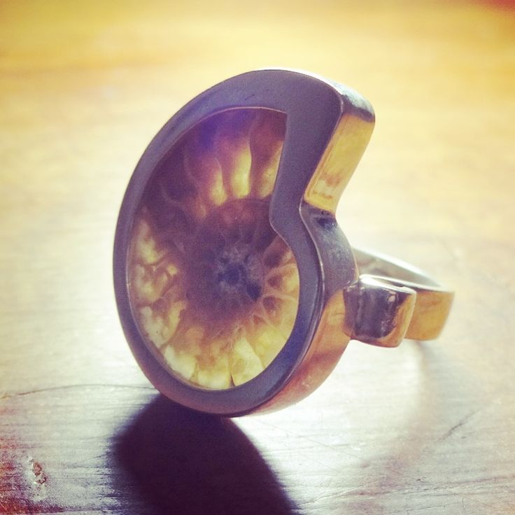 Anillo de Plata con Fósil de Amonite / Silver Ring with Amonite Fosil / #joyeria #hechura #hechoamano #anillo #plata #amonite #fosil #espiral #fibonacci #proporciondivina #proporcionaurea #jewelry #handmade #handengraved #silver #ring / rodolfo@hechura.cl www.hechura.cl