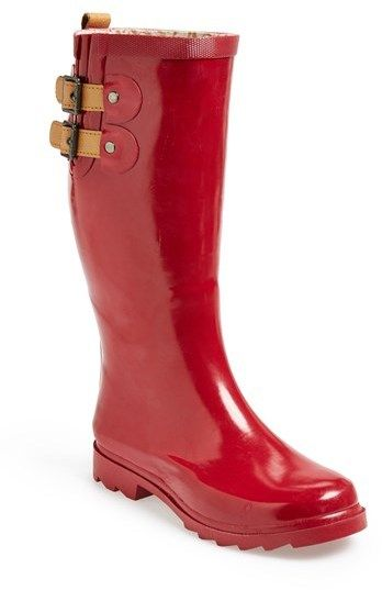 Chooka 'Top Solid' Rain Boot (Women), Leather straps adjust the shaft of a puddle-proof rain boot designed with a moisture-absorbing lining and sturdy sole.