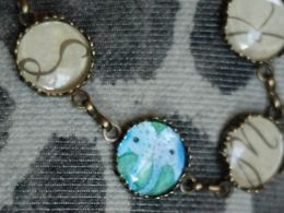 TITIRI Handmade bracelet with a custom drawing under the glass cabochon- elephants (aquarell pencils)