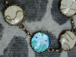 TITIRI Handmade bracelet with a custom drawing under the glass cabochon- elephants (aquarell pencils)