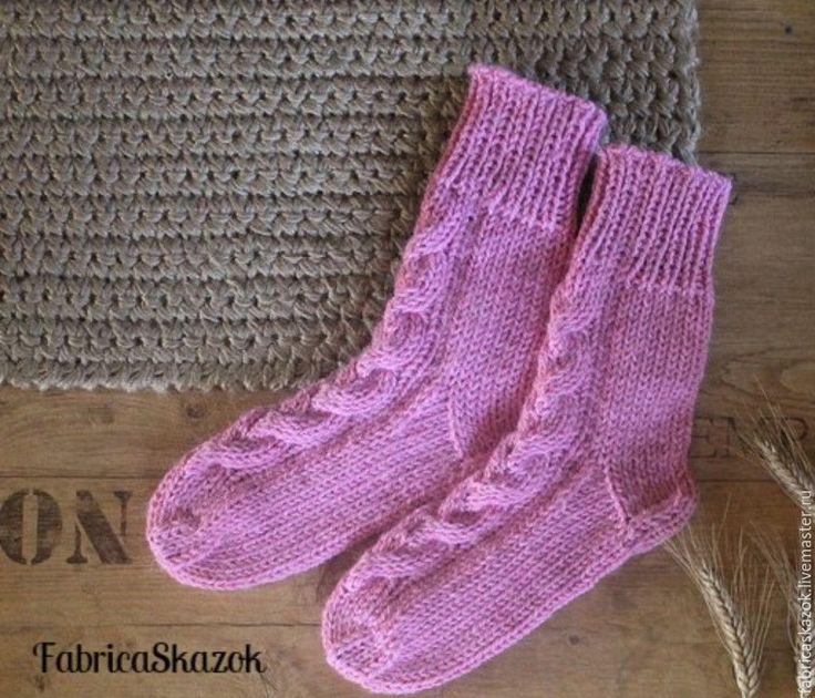 Купить Вязаные шерстяные носки Розовая дымка - розовый, носки вязаные, Носки…