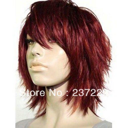 Оптовая цена БЕСПЛАТНАЯ ДОСТАВКА ^ ^ ^ ^ потрясающий короткая женские красные каштановые волосы парики