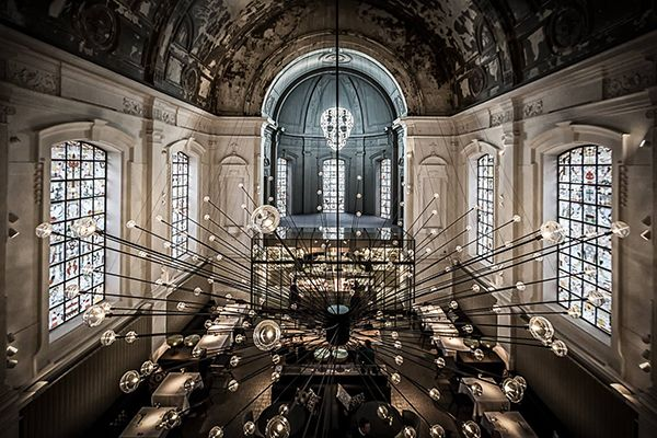 Belgium, Antwerp. Jane restaurant designed by Piet Boon in a chapel of a former military hospital that gives the restaurant the aura of a sacred place mixed with a certain darkness. The kitchen in The Jane is located on the altar. Chef Nick Bril, Herman's former right hand man at restaurant Oud Sluis in Sluis in Zeeland, is responsible for the day-to-day running of the restaurant and decides on the tasty menu together with Sergio.