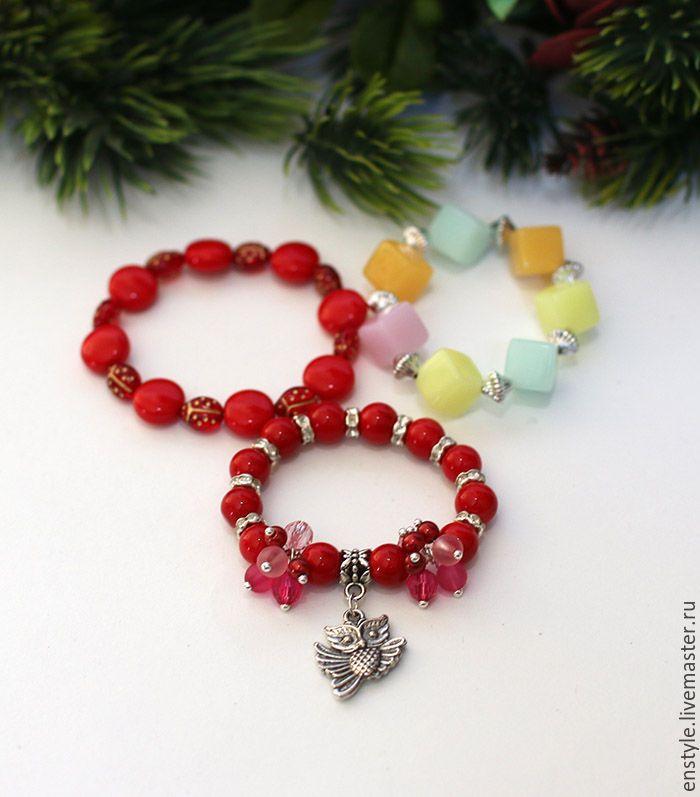 """Купить Акция к 8 Марта. Детские браслеты """"Для маленьких принцесс"""" - ярко-красный, цветочный"""