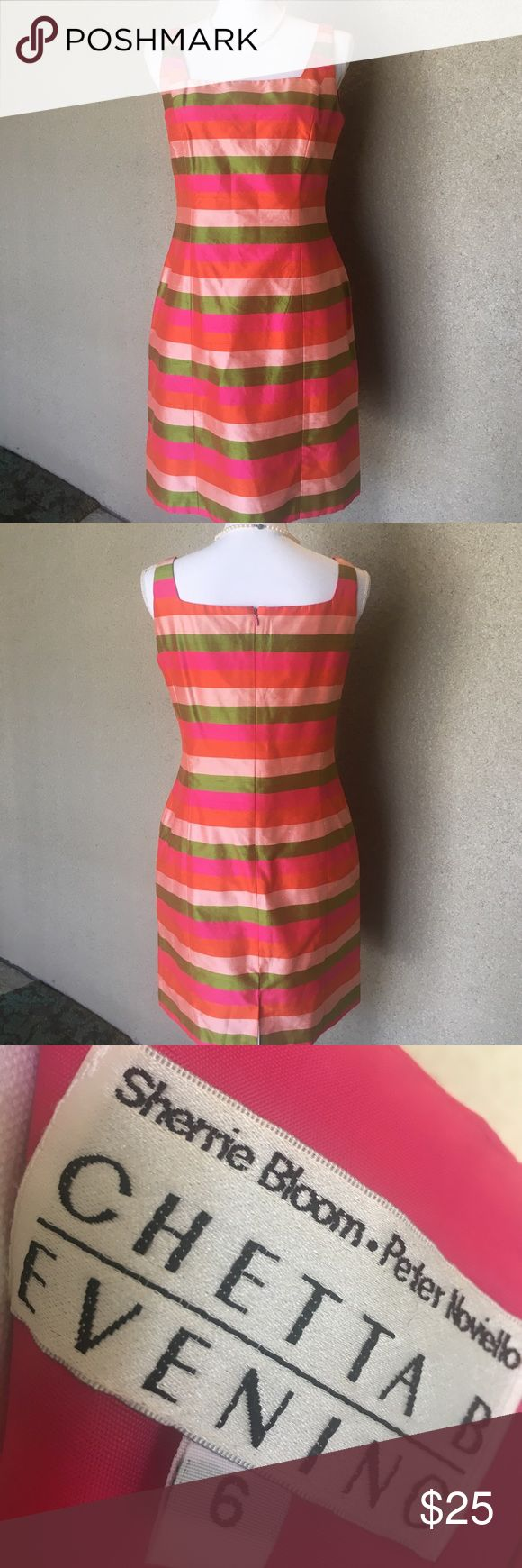 CHETTA B EVENING DRESS Striped silk shantung dress in multi-sorbet colors. Fully lined, hidden zipper in back with hook & eye closure. The seam was loose under armpit that I mended-see pic.✨guc✨ Cheta B Evening Dresses Midi