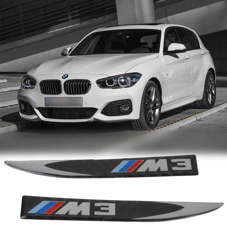 2pcs ///M 3 Carbon Fiber Side Fender Skirt Emblem Badge Sticker Decal for BMW