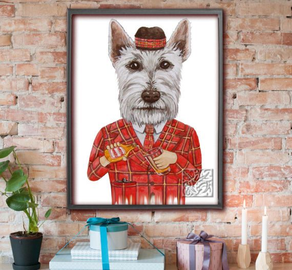 Funny Westie dog Print cross Scottie dog painting with wee dram o whisky /Tartan hat Dictionary Art Print Poster Unique 8 x 10 & 12 x 16inch