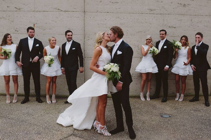 A classic black and white bridal party style.