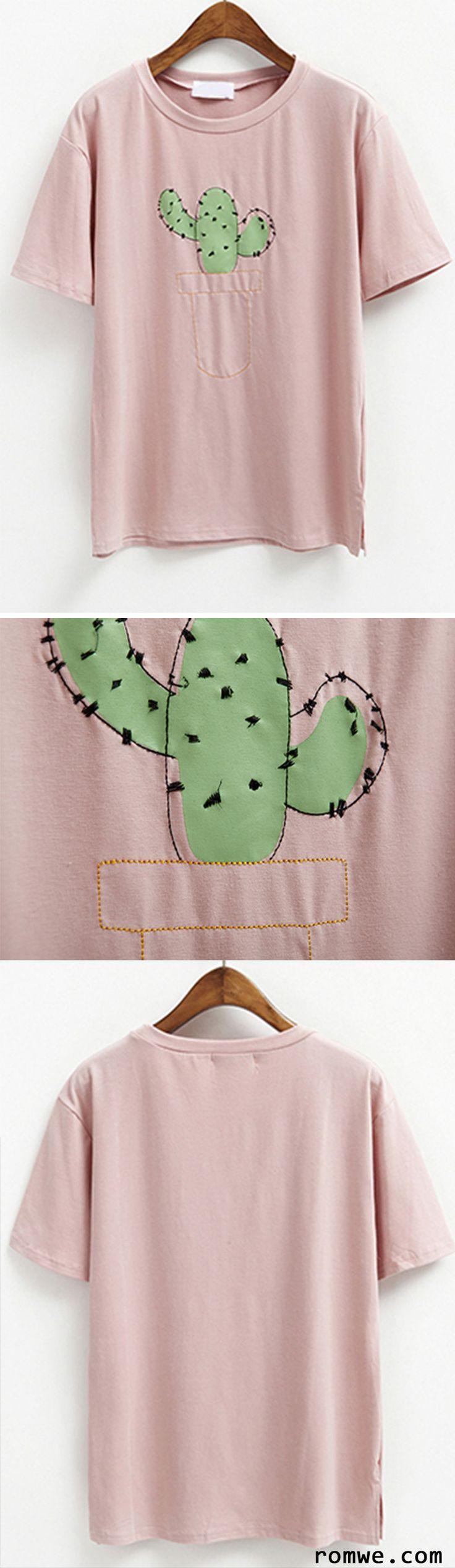 Fashion Style 2016- Cactus Print Short Sleeve T-shirt from romwe.com