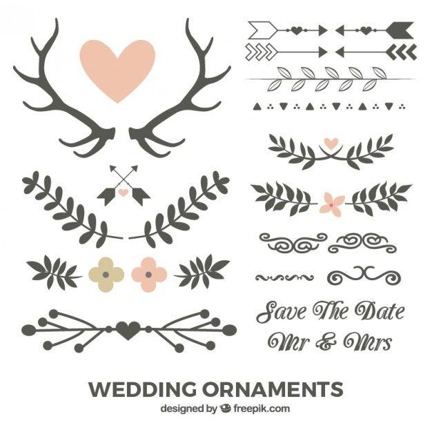 Mão folhas e ornamentos de casamento desenhado Vetor grátis
