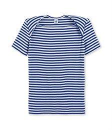T-shirt femme rayé emmanchures US bleu Yves / blanc Lait - Petit Bateau