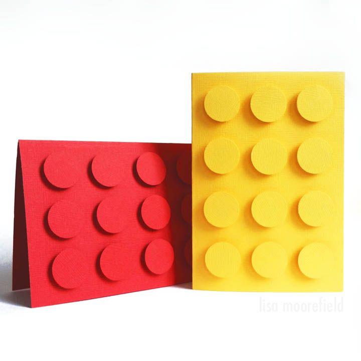 Lego Card Tutorial - matching box idea pinned here: http://pinterest.com/pin/268597565248448795/