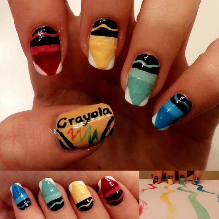 Crayola bright nail art