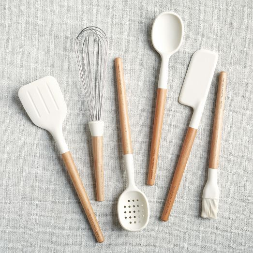 silicone and wood utensils