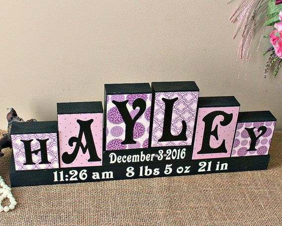 Personalized Baby Name Blocks Unique Baby Gift by TimelessNotion