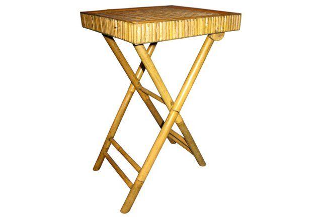 Midcentury  Bamboo Folding Table