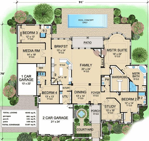 Plan 36180TX: French Country Estate with Courtyard