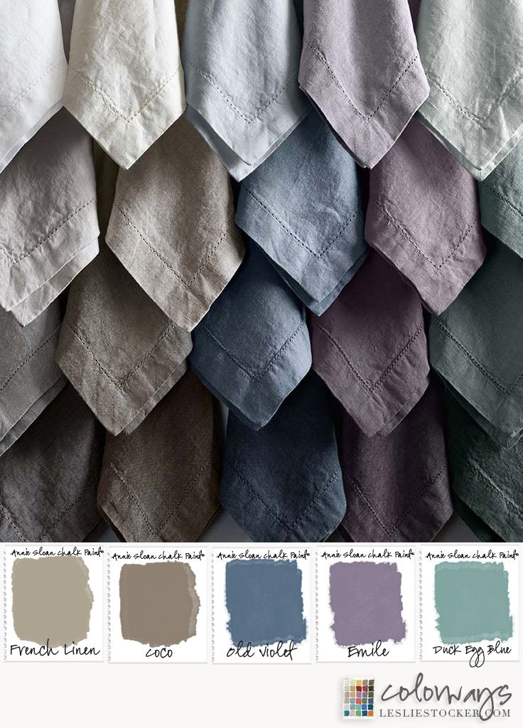 COLORWAYS  Annie Sloan Chalk Paint can be used to dye fabric and Linens.
