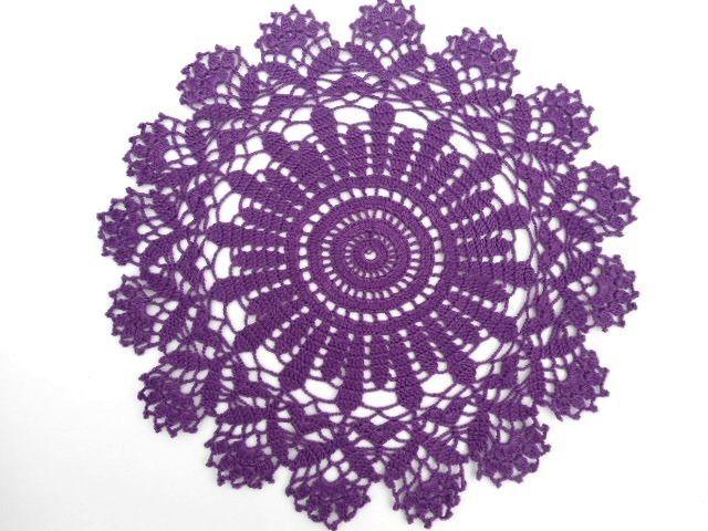 Purple crochet doily, new hand crocheted doily, handmade doily, round lace doily