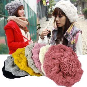 Women's Winter Warm Knit Wool Hat Beanie Crochet Warm Pumpkin Ball Cap