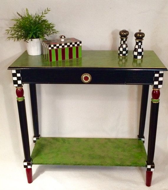 Whimsical Painted Furniture, Whimsical Painted Console Table // Black And  White Checkered Table // Custom Painted Table