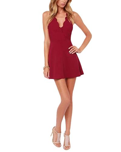 Red Scallop V Neck Bodycon Short Dress DR0150708-2